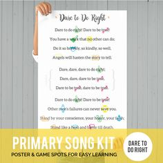 Primary Song Kit: Dare to Do Right Primary Program, Primary Songs, Primary Singing Time, Primary Lessons, Lds Primary, Visiting Teaching Handouts, Primary Chorister, Relief Society Activities, Speech Therapy