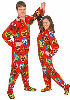 Lucha Libre Luchadores Masks Print Footed Pajamas with Drop Seat