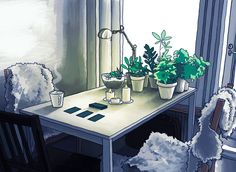 Photoshop   Illustration and animation by Ira  Quick morning coffee and tarot, the apartment looked beautiful in bright sunlight.