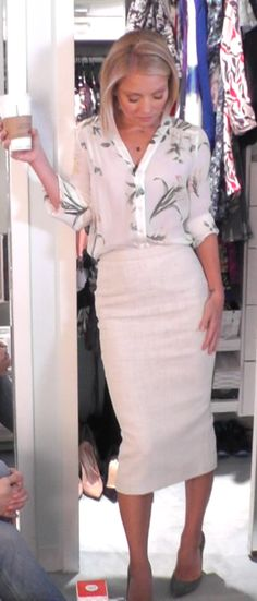 Kelly RIpa in a Joie Top from @neimanmarcus and ALC pencil skirt. LIVE with Kelly and Michael Fashion Finder.