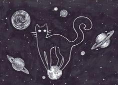 Day 7 + Stars & Black cat space cats are cool or something idk Pop Punk, Soft Grunge, American Horror Story, Crazy Cat Lady, Crazy Cats, Ft Tumblr, Galaxy Cat, Indie, Space Cat