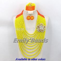 Find More Jewelry Sets Information about 10 Rows African Nigerian Wedding Beads Jewelry Set Yellow Mix Orange Crystal Beads Jewelry Sets Free Shipping AEJ008,High Quality jewelry lot,China jewelry life Suppliers, Cheap jewelry feet from Emily's Jewelry DIY Store on Aliexpress.com