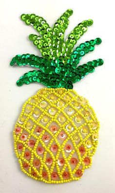 Pineapple with Yellow Peach Green Sequins and Beads Small x Bead Embroidery Tutorial, Hand Embroidery Designs, Beaded Embroidery, Embroidery Stitches, Embroidery Patterns, Embroidery Techniques, Pineapple Embroidery, Sequin Crafts, Peach And Green