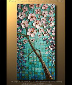 Painting Blue Spring Oil Palette Knife extra thick by Artcoast