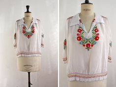 Lovely 1930S Peasant Bohemian Embroidered Top, Blouse, Crop Top / Boho, Hippie, Indie / Size Medium