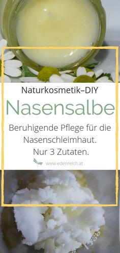 Nasensalbe selber machen Natural care for dry & irritated nasal mucosa. This simple nasal balm puts a soothing layer over the nasal mucosa and thus prevents it from drying out. Simple DIY recipe with only 3 ingredients. Diy Cosmetics Ingredients, The Body Shop, Beauty Secrets, Diy Beauty, Belleza Natural, Natural Cosmetics, Diy Makeup, Organic Beauty, The Balm