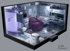Cozy Cyberpunk Apartments - Future Compact Living - - Post with 3478 views. Games Design, Futuristisches Design, Spaceship Interior, Futuristic Interior, Futuristic Design, Environment Concept Art, Environment Design, Compact Living, Cyberpunk Art