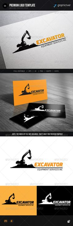 Excavator II Logo Design Template Vector #logotype Download it here:  http://graphicriver.net/item/excavator-ii/7370288?s_rank=145?ref=nexion