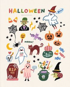 People don't do much about halloween in the Netherlands and also in Korea, but I think it's a fun day and I hope can visit U.A around… Halloween Inspo, Halloween Banner, Halloween Home Decor, Halloween Crafts, Halloween Illustration, Cute Illustration, Cool Sketches, Planner, Kids Prints