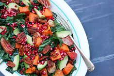 A mix of textures, this raw and roasted green salad features sweet potatoes, candy striped beets, kale, avo and pomegranate seeds. Pasta Salad, Cobb Salad, Create A Recipe, Pomegranate Seeds, What's Cooking, What To Cook, Meals For The Week, Beets, Kale