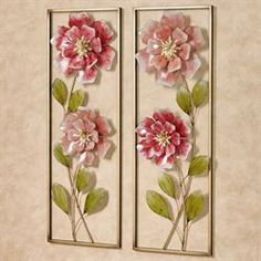 Rose Blossoms unfurl hand-dyed pink and mauve petals within this floral metal wall art set. Winding stems and green leaves add sweetness to your space. Metal Tree Wall Art, Panel Wall Art, Metal Wall Decor, Wall Art Sets, Metal Art, Flower Wall Decor, Floral Wall Art, Flower Decorations, Aluminum Crafts