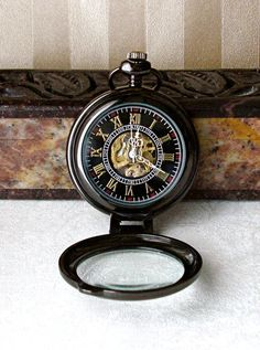 Steampunk Pocket Watch BLACK Magnifier Case by theDeerCreekHouse, $49.00
