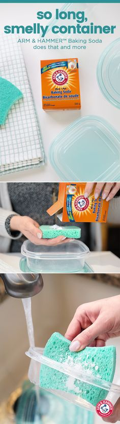 Leftovers are great. But leftover odour from the plastic container, not so much. Luckily, there's a fast, easy way to eliminate lingering food odours. Just add a sprinkling of ARM & HAMMER™ Baking Soda to a clean damp sponge. Next, wash your plastic containers as normal. Then dry. (HINT: For stubborn odours, soak containers in a solution made of 4 tbsp ARM & HAMMER™ Baking Soda to 1 litre warm water.)