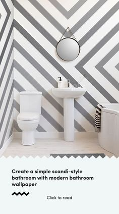 Browse & shop our range of bathroom-friendly wallpaper. Create the perfect bathroom ambience with one of our enhancing wall murals. New Bathroom Ideas, Best Bathroom Designs, Bathroom Interior, Modern Bathroom, Wallpaper Toilet, Bathroom Wallpaper, Kitchen Cabinet Handles, Door Handles, Scandi Style