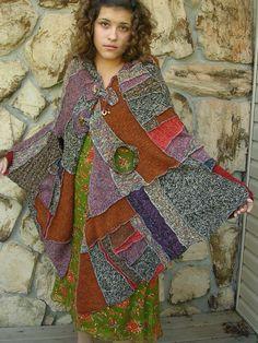 GYPSY Traveling cape Repurposed Sweaters OSFA. $145.00, via Etsy.