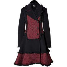 MCQ ALEXANDER MCQUEEN Wool Blend Fringed Coat in Red/Black