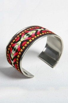 A. OK Embroidered Metal Silver Cuff