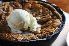 This is the perfect lazy weekend dessert. You only dirty one fork, a wooden spoon, and a skillet.