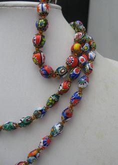 Early Millefiori  Glass Necklace Bracelet Set Venetian