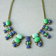 """Blue and green statement necklace New 19-21"""". Will ship out within 1-2 business days ModCloth Jewelry Necklaces"""