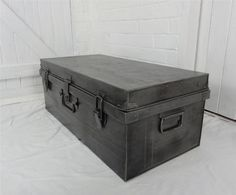 Antique Vintage Industrial Metal Steel Trunk Polished Chest Storage Coffee  Table