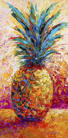 Pineapple Expression by Marion Rose. Colorful impressionism painting.