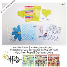 Free Springtime Colour Journal Cards from Heather Roselli