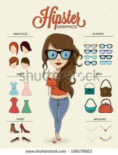 Hipster girl character with hipster elements and icons by Kovacs Tamas, via Shutterstock