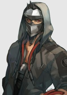 alternate costume artist name black hair blackwatch genji cyborg genji (overwatch) hands in pockets highres hood hooded jacket jacket male focus mask open clothes open jacket overwatch red eyes sae (revirth) simple background solo - Image View - Favorite Character, Character Design, Character Art, Character Inspiration, Genji And Hanzo, Anime, Hero, Overwatch Genji, Overwatch Fan Art