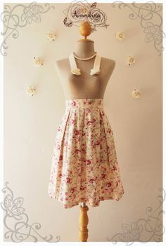 Love this print and pleated look!!! Floral Lady Look Pleated Mid Skirt Cream Floral skirt by Amordress, $39.00