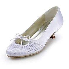 Satin Low Heel Closed Toe With Ruffles Wedding Shoes (More Colors) – US$ 62.29 love this one for mya