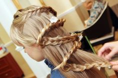 Pretty diagonal braid for long girl's hair! http://instagram.com/sparklysodastyle http://spaceelephant.com/beauty/wedding-hairstyle/