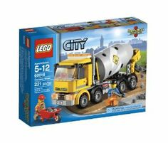 "LEGO City Cement Mixer 60018 by LEGO City. $19.97. Features rotating drum; movable chute and tipping cab section. Includes 2 minifigures: driver and a construction worker with assorted accessories. Rotate the drum. Accessories include shovel, coffee cup, wheelbarrow and 18 cement-colored bricks. Measures over 3"" (8cm) high, 7"" (20cm) long and 2"" (7cm) wide. From the Manufacturer                Lay the foundation for a new Lego City building with the heavy-duty..."
