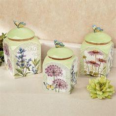 Herb Garden Butterfly Kitchen Canister Set