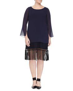 Fedele Layered Tunic W/ Fringe Trim, Women's, Size: 12W, Navy - Marina Rinaldi