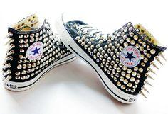Studded converse,Spiked converse,Custom Studded converse Silver Black High Top converse