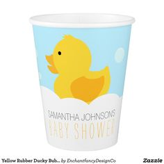 Yellow Rubber Ducky Bubble Bath Baby Shower Paper Cup Are you planning a bubble bath or duck themed baby shower? The Yellow Rubber Ducky Baby Shower Paper Cups designed by Enchantfancy Design Company are an adorable choice for gender neutral baby showers. It features a sweet yellow duckling floating in bath bubbles. These party cups will help add that special touch to your baby shower table setting. Don't forget to tie the duck party theme together with coordinating products designed by…