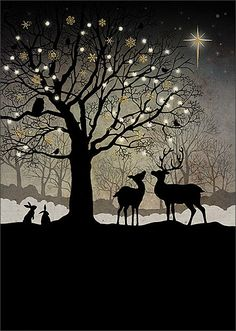 Christmas Woodland - christmas card design by Jane Crowther for Bug Art greeting cards.