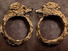 Hate Superfluous - Gold plated cuffs with black enamel highlights by Duffy