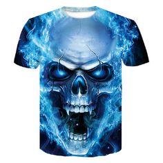 Hot Selling Men's Summer Fashion print Skull poker t shirt Men casual breathable plus size short sleeve Hip Hop tees tops Skull Shirts, 3d T Shirts, Funny Tshirts, Men Shirts, Shirt Bluse, Herren T Shirt, Skull 3d, Wolf Skull, Skull Art