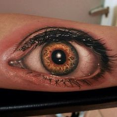 Super Realistic 3D eye tattoo on arm. Would never want this but the artistry is incredible.