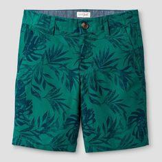 Boys' Flat Front Chino Shorts Cat & Jack Green Palm 10, Boy's