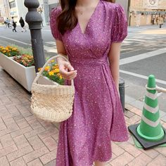 Women Summer Chiffon Dress Elegant Floral Print Wrap V neck High Waist – Ozzy Bella All Great Apparel Women's Summer Fashion, Cute Fashion, Casual Dress Outfits, Floral Tunic, Summer Dresses For Women, Elegant Dresses, Chiffon Dress, Day Dresses, Fashion Dresses