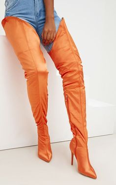 Orange Satin Super Thigh High Heeled BootsGirl make a statement with these seriously hot thigh hi. Thigh High Boots Heels, Platform High Heels, Black High Heels, Heeled Boots, Crotch Boots, High Leather Boots, Sexy Boots, Thigh Highs, Over The Knee Boots