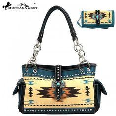 Handbag and Wallet set ,Western Aztec Collection Handbag purse  #MontanaWest #ShoulderBag