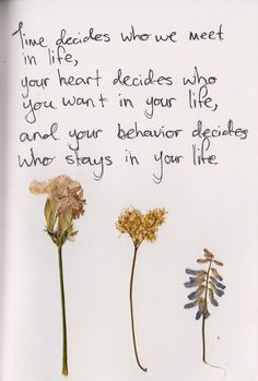 Time decides who you meet in life, your heart decides who you want in your life, but yourbehaviourdecides who will stay in your life. -=-