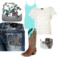 turquoise cowgirl- Love this... especially the bedazzled butt jeans and awesome cowgirl boots!