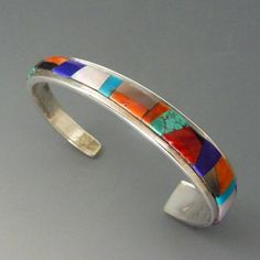 Vintage Native American Sterling Silver Channel Inlay Cuff Bracelet