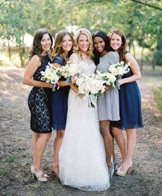 Southern Weddings: Mismatching brides perfect for a blue color palette! (Photo by Ryan Ray via Southern Weddings) Blue Bridesmaid Dresses, Bridesmaids And Groomsmen, Fall Wedding Dresses, Wedding Bridesmaids, Blue Dresses, Party Dresses, Southern Weddings, Wedding Trends, Nautical Wedding
