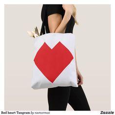 Red heart Tangram Tote Bag #heart #RedHeart #forever #love #valentineday #valentinesgift #romance #amour #valentine #tangram #ToteBag #zazzle #puzzle #loveher #lovehim #trendy #fashionable #stylish #classy